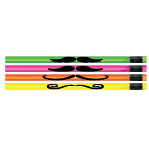 Neon Mustache Pencils-Bag of 12