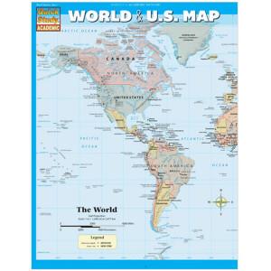 World & U.S. Map 3-Panel Laminated Guide