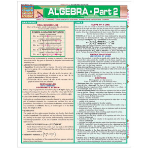 Algebra-Part 2 3-Panel Laminated Guide