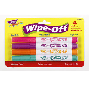 Brite Wipe-Off Markers-4 Pack