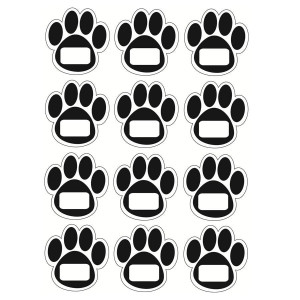 Black Paw Print Wipe-Off Magnets