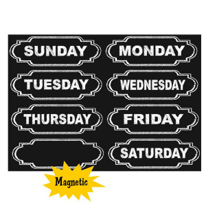 Chalkboard Days of the Week Magnetic Labels