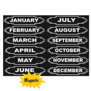 Chalkboard Calendar Months Magnetic Labels