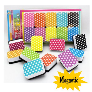 Polka Dots Mini Magnetic Whiteboard Erasers