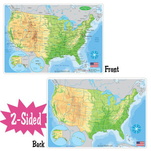 Physical US Map Smart Poly 2-Sided Learning Mat