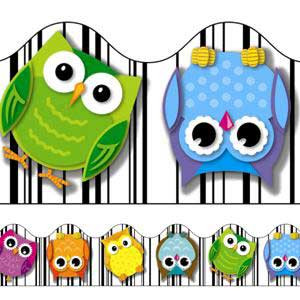 Colorful Owls Border