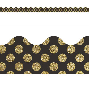 Gold Glitter Dots Border