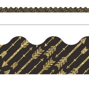 Gold Glitter Arrows Border