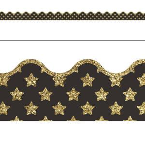 Gold Glitter Stars Border