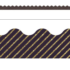 Gold Glitter Navy Stripe Border