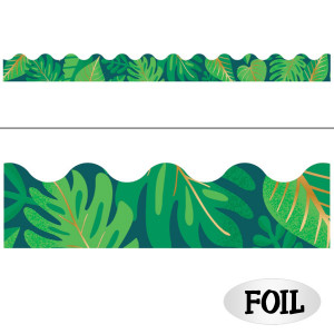 One World Tropical Leaves with Gold Border