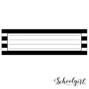 Simply Stylish Black & White Stripe Nameplates