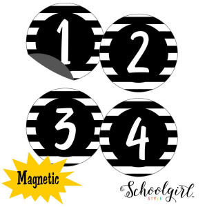 Simply Stylish Striped Magnetic Numbers