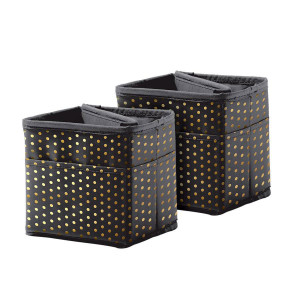 Tabletop Storage: Black & Gold Dots