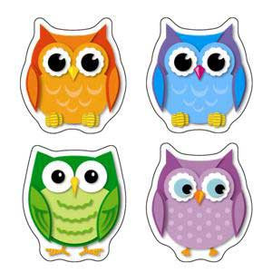Colorful Owls Shape Stickers