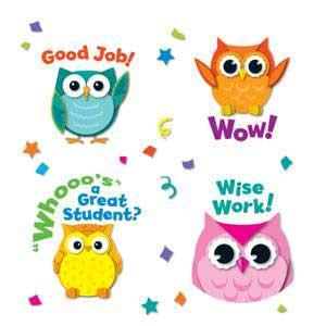 Colorful Owls Motivators Shape Stickers