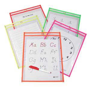 C-Line Reusable Dry Erase Pockets-Brite 10 Pack