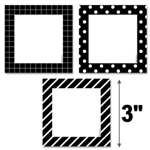 """Black & White Pattern Cards 3"""" Cut-Outs"""