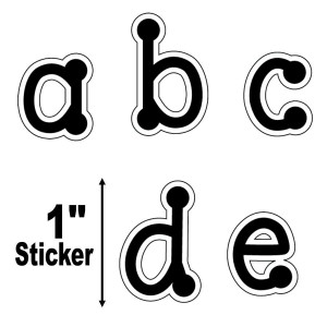 "Black Dot 1"" Letter Stickers-Lowercase"