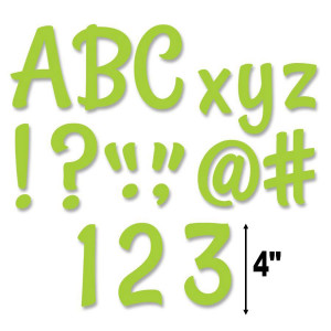 "Lime Green Stylish 4"" Letters"