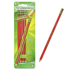 Ticonderoga Red Checking Pencils-4 Ct