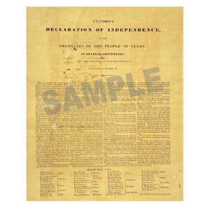 Texas Declaration of Independence Poster in Tube