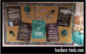 *Shabby Chalkboard Rules Bulletin Board