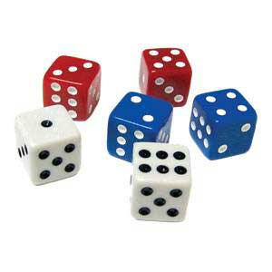 "5/8"" Dice: Package of 18 (Red, White & Blue)"