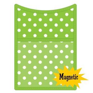 Lime Polka Dot Magnetic Storage Pocket