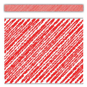 Red Scribble Straight Border