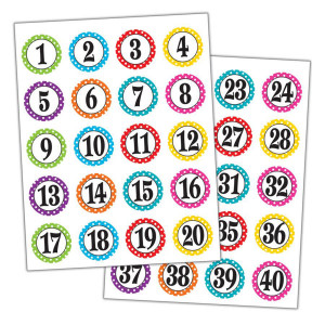Polka Dots Number Stickers 1-40