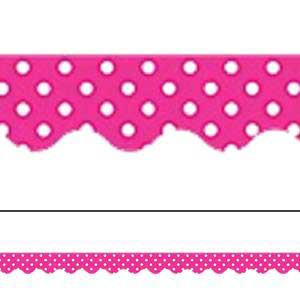 Hot Pink Polka Dots Border