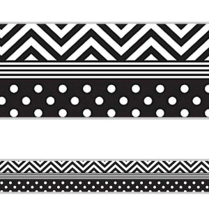 Black & White Chevron & Dot Border