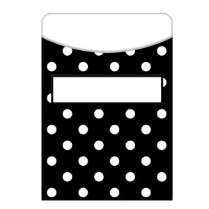 Black Polka Dot Library Pockets