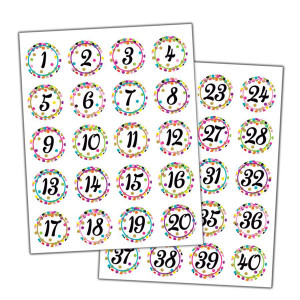 Confetti Number Stickers
