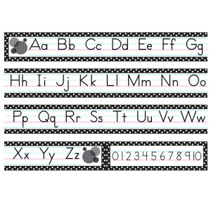 Black Polka Dots Traditional Print Alphabet Line