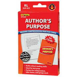 Author's Purpose Cards Reading Level 2.0-3.5