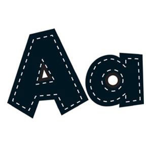 "Black 4"" Stitch Fun Font Letters"