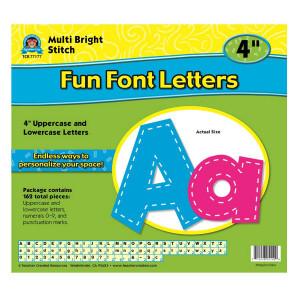 """Multi-Color Bright Stitch Fun Font 4"""" Letters"""