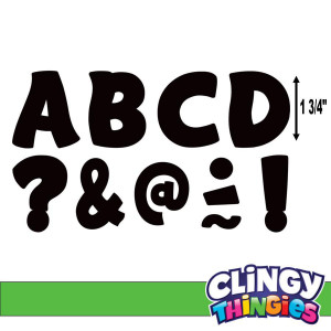 "Black Funtastic Clingy Thingies 1-3/4"" Letters"