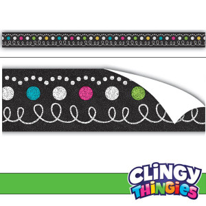 Chalkboard Brights Clingy Thingies Border Strips