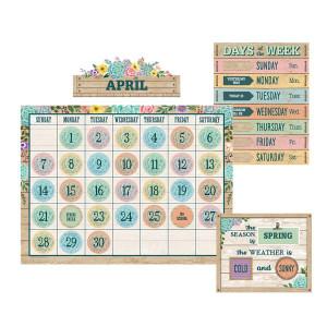 Rustic Bloom Calendar Bulletin Board