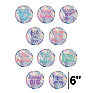 Iridescent Positive Sayings Cut-Outs