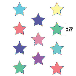 Iridescent Colorful Stars Mini Cut-Outs