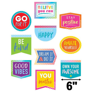Colorful Vibes Positive Sayings Cut-Outs