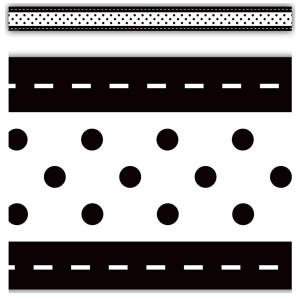 Black & White Stitch n Dots Border