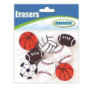 Sports Assorted Pencil Toppers-Bag of 8