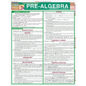 Pre-Algebra 3-Panel Laminated Guide