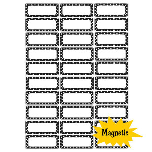 Black & White Dots Magnetic Labels set of 30