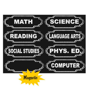 Chalkboard Class Subjects Magnetic Labels